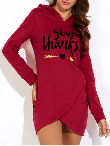 Buy Hooded Letter Print Asymmetric Sweatshirt Dress BURGUNDY S