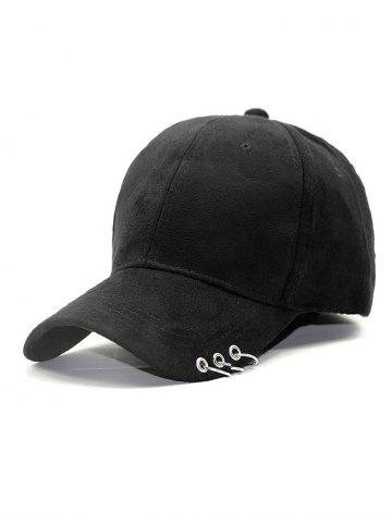 Adjustable Iron Circle Decorative Pleuche Baseball Hat - Black