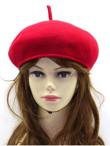 Chic Winter Warm Wool Beret French Hat RED