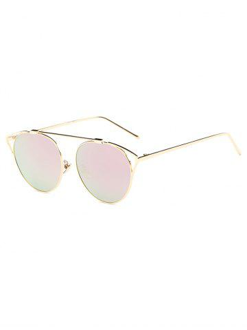 Fancy Travel Hollow Out Angle Oval Mirrored Sunglasses