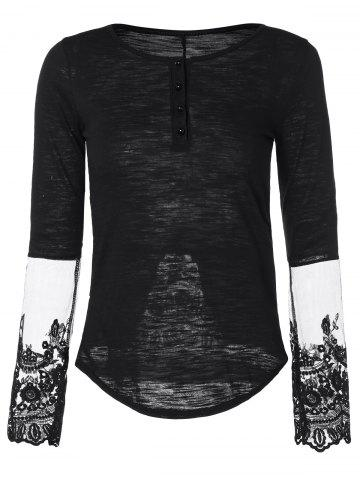 Trendy Half Button Lace Insert T-Shirt BLACK L