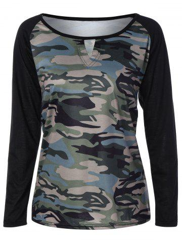 Online Army Camouflage Pattern Panel Long Sleeve T-Shirt