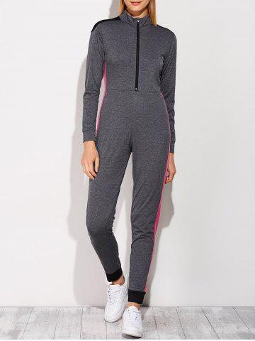 Chic Casual Color Block Sporty Jumpsuit DEEP GRAY XL