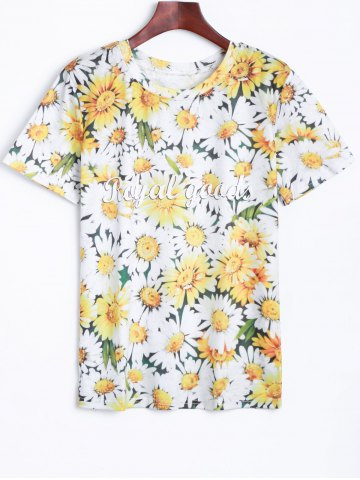 Sale 3D Chrysanthemum Printed T-Shirt