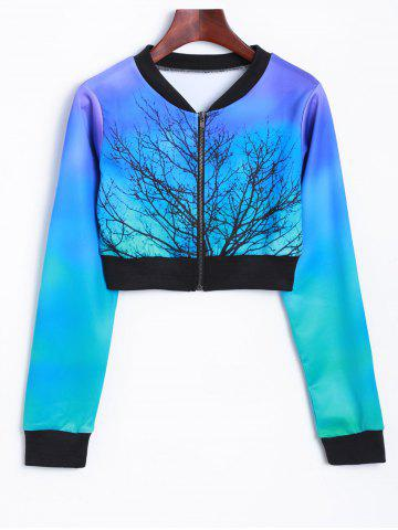 Unique Tree Zip Up Cropped Sweatshirt