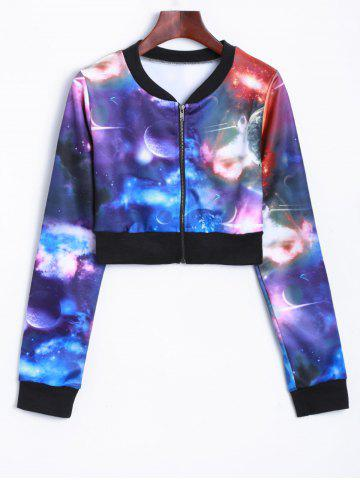 Outfit Zippered Up Galaxy Cropped Sweatshirt
