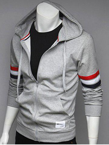 Buy Zip Up Pocket Front Striped Sleeve Hoodie GRAY L