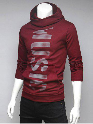 Shops Pocket Front Graphic Pullover Hoodie RED XL