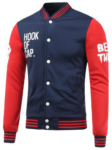 Shops Letter Print Color Block Baseball Jacket BLUE AND RED M