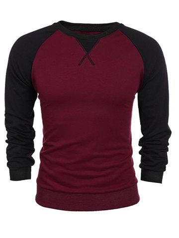 Best Raglan Sleeve Crew Neck Two Tone Sweatshirt