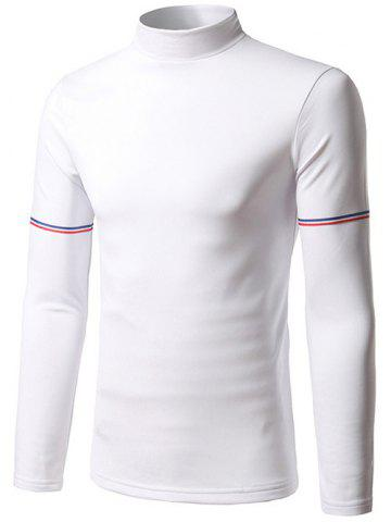 Stand Collar Striped Sleeve T-Shirt - WHITE M