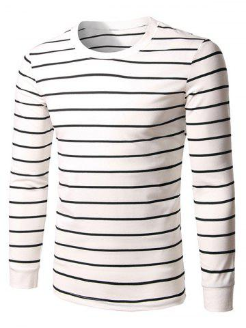 Long Sleeve Crew Neck Striped T-Shirt - White - M