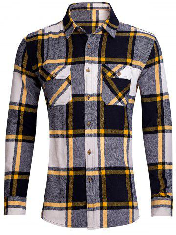 Trendy Chest Pocket Button Up Plaid Shirt YELLOW XL