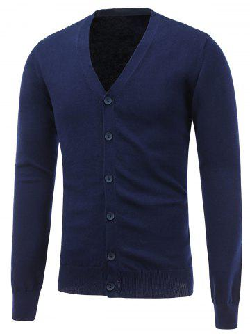 Fancy V Neck Button Up Flat Knitted Cardigan