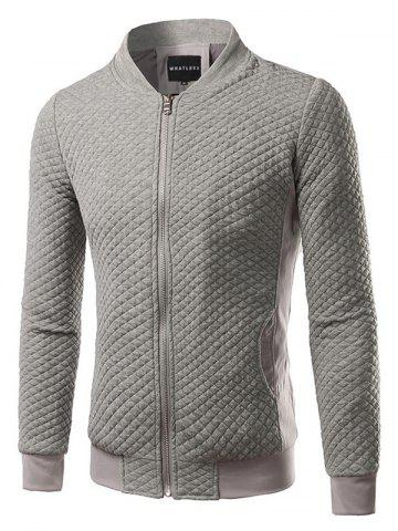 Buy Rhombus Pattern Insert Zip Up Jacket GRAY 2XL