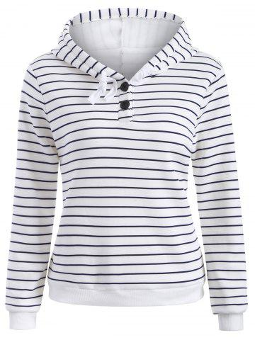 Latest Striped Button Embellished Flocking Hoodie WHITE S