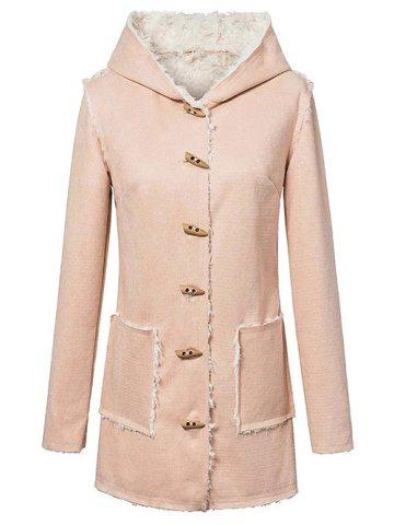 Hot Hooded Sherpa Faux Suede Coat YELLOWISH PINK L