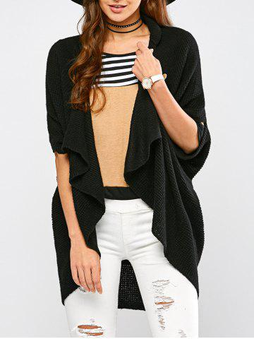 Knitted Draped Front Cardigan - Black - One Size