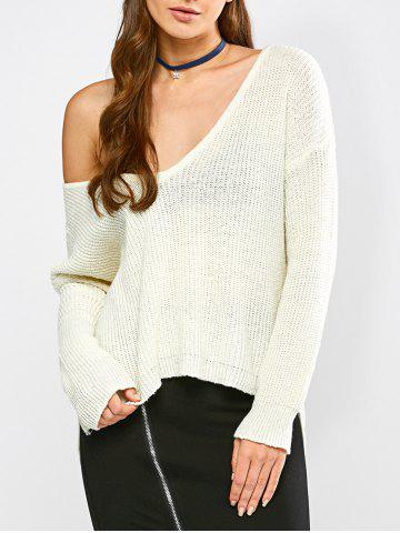 Latest High Low Hem Chunky Sweater OFF WHITE M