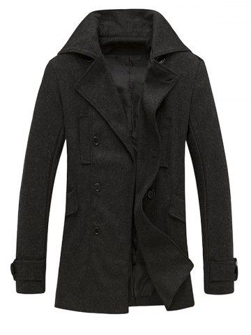 Pocket Button Tab Cuff Epaulet Design Pea Coat - Deep Gray - L