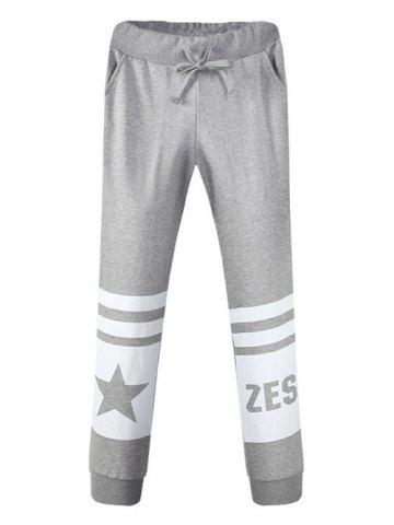 Shop Pocket Drawstring Graphic Jogger Pants GRAY 34