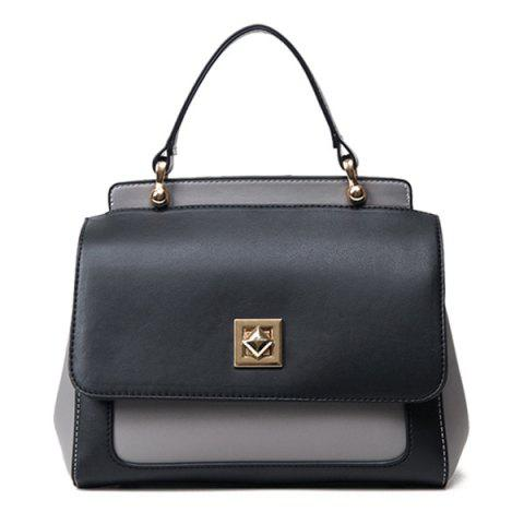 Sale Twist Lock Closure Color Block Vintage Crossbody Bag