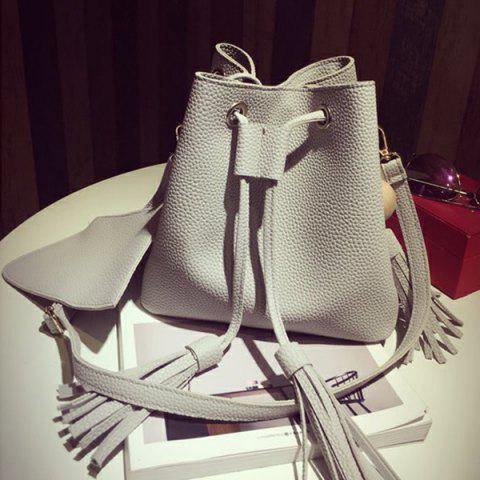 Outfits PU Leather Tassels Crossbody Bag GRAY
