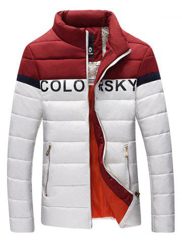 Letter Printed Color Block Zipper Padded Jacket - WHITE 3XL