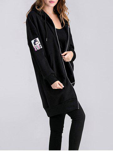 Latest Applique Zipped Maternity Longline Hoodie BLACK XL