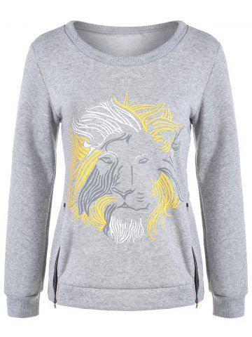 Hot Lion Graphic Zipper Design Sweatshirt