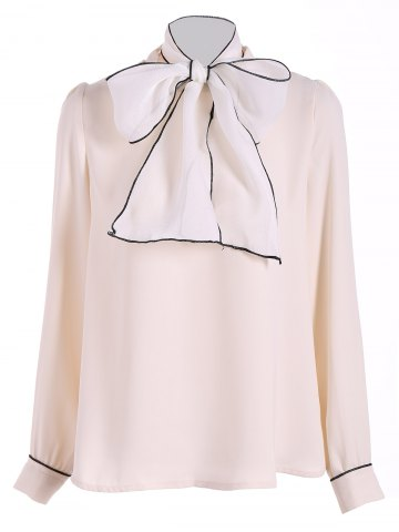 New Pussy Bow Tied Neck Chiffon Blouse APRICOT XL