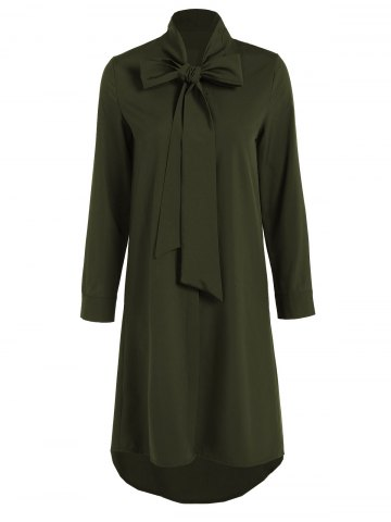 Pussy Bow Tied Neck Shirt Dress - Olive Green - S