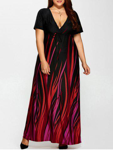 Best Plus Size Printed Empire Waist Maxi Formal A Line Party Dress BLACK 2XL