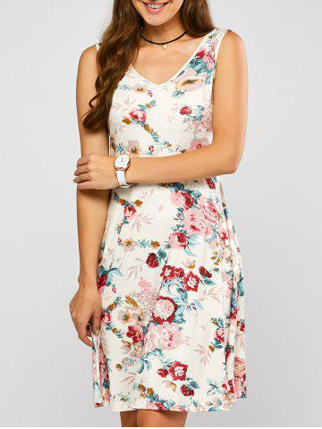 Latest Sleeveless Blossom Print Swing Dress