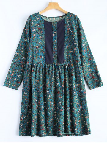 Best Flower Print Paneled Smock Dress