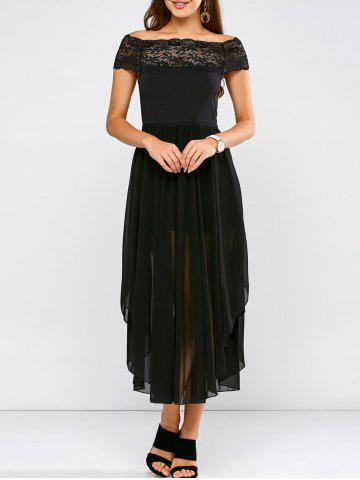 Best Lace Panel Side Slit Chiffon Party Dress BLACK 2XL
