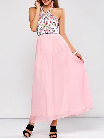 Best Flower Paneled Open Back Maxi Dress