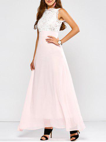 Affordable Maxi Lace Panel A Line Prom Formal Dress SHALLOW PINK 2XL