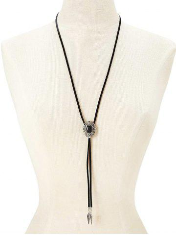 Affordable PU Rope Faux Gem Sweater Chain