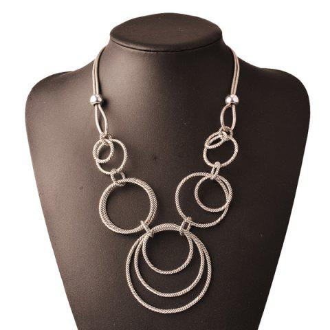 Online Retro Layered Circle Pendant Necklace SILVER