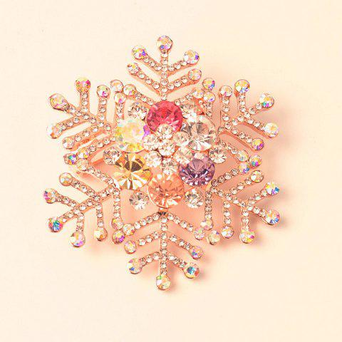 Fancy Snowflake Rhinestone Brooch ROSE GOLD