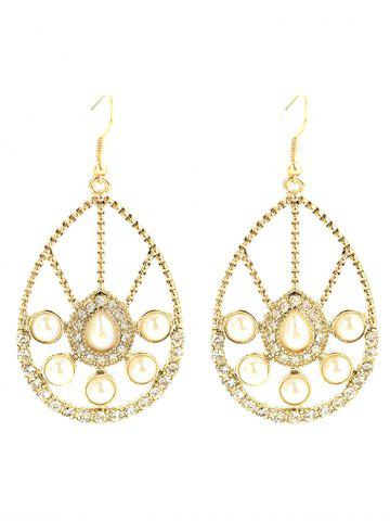Faux Pearl Rhinestone Waterdrop Earrings - YELLOW