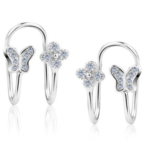 Discount Butterfly Silver Plated Clip Earrings SILVER