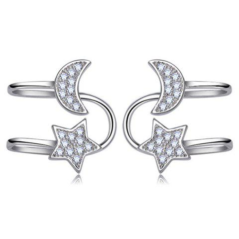 Shop Star Moon Clip Earrings Without Piercing SILVER