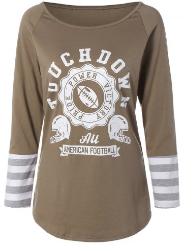 Latest Printed Striped Sleeve Tee KHAKI M