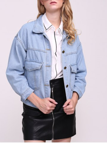 Online Boyfriend Denim Jacket with Pockets