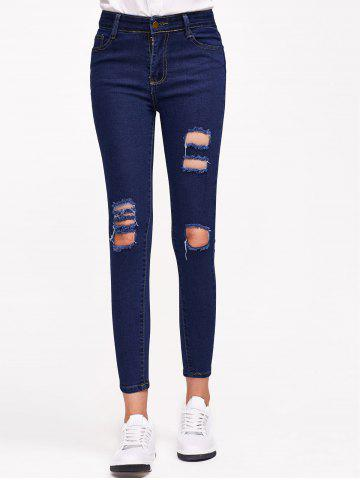 Store Distressed Stretchy Pocket Design Jeans