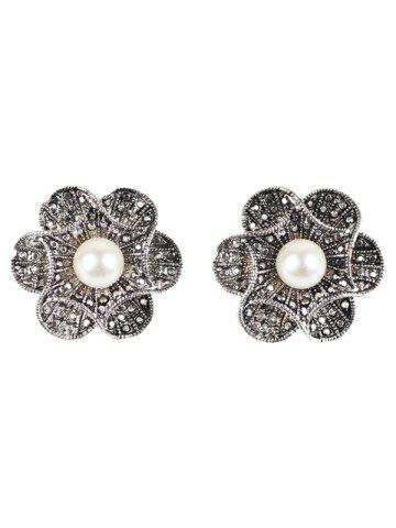 Discount Artificial Pearl Flower Earrings SILVER