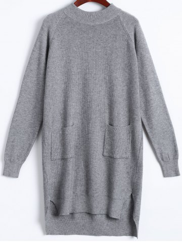 Pocket Side Slit Ribbed Sweater