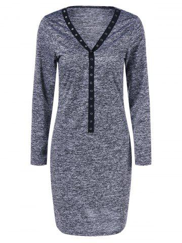 Fancy Bodycon V Neck Mini Dress DEEP GRAY M